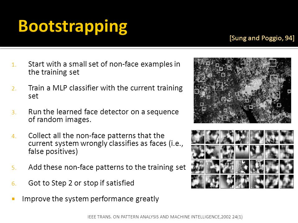 Bootstrapping [Sung and Poggio, 94] Start with a small set of non-face examples in the training set.